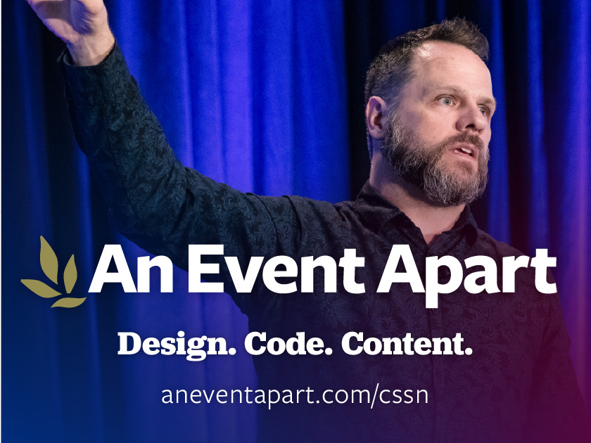 Learn what's next in web design by attending An Event Apart